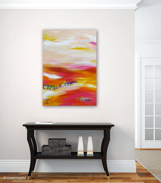 Create. Original Inspirational Painting. Abstract. Motivational Picture With Typography. Acrylic Painting on Canvas. (CN-005)
