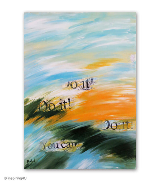 Do it! Motivational wall decor. Stretched Canvas. Original Abstract Painting. Typography wall decor art.  (CN-008)
