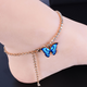 Rhinestone Blue Butterfly Anklet