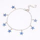 Blue five-pointed star fluorescent anklet