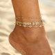Three layer fish bone crystal anklet