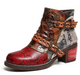 Faux Leather Flower Daily Boots