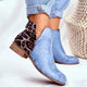 Tiosebon Leopard Stitch Leather Boots