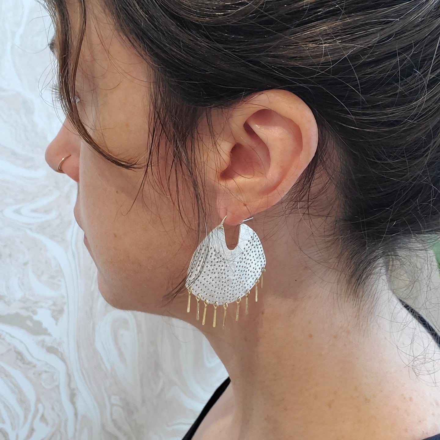 Medium Sterling Fringed Gibbous Moon Hoops