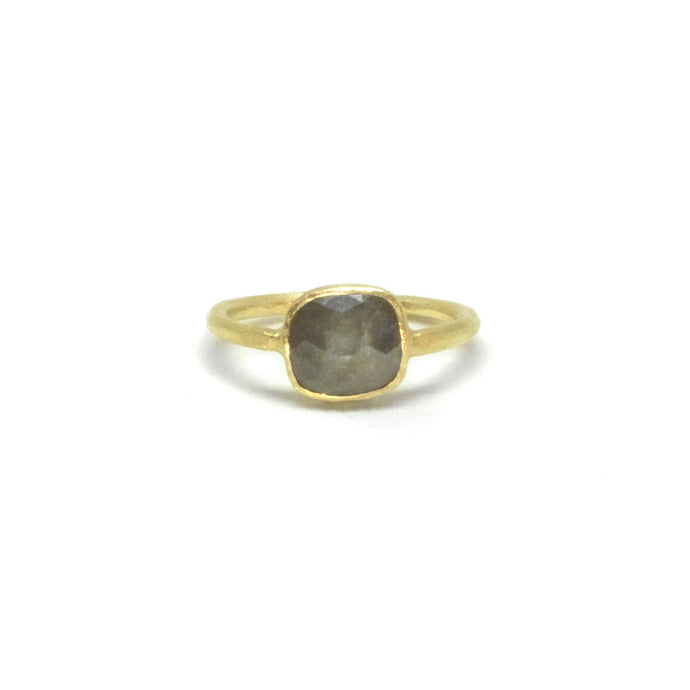 Grey Rounded Square Diamond Ring