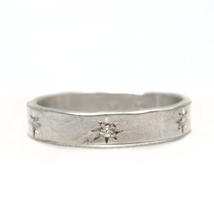 Sterling 6 Diamond Star Set Ring