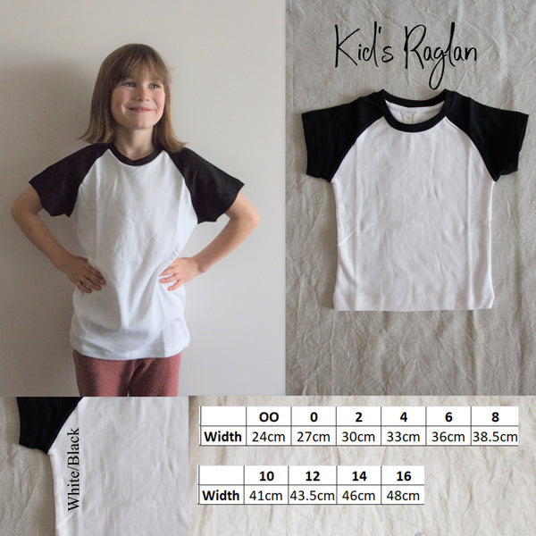 kids raglan tee black and white
