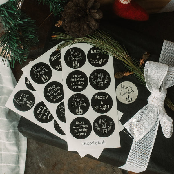 Christmas label stickers - 40mm circles
