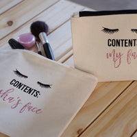 Make up Cosmetics Bag - Contents: My face