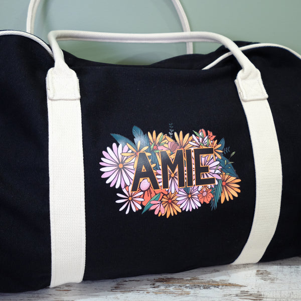 Contrast Gym / Travel Bag - Wildflower Personalised