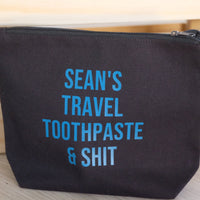 Travel bag - personalised toothpaste and travel shit