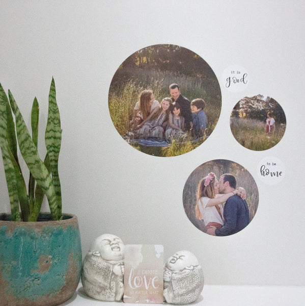 Fabric Photo Wall Decals - Set of 3 Round with BONUS