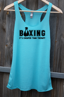 Racerback Tank Top - Boxing, it's Cheaper Than Therapy