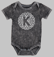 Short sleeve stonewash bodysuit or Tee - Mandala monogram