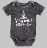 Short sleeve stonewash bodysuit or Tee - Boho Stay wild