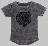 Kids stonewash long back Tee - Fox