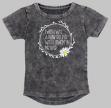 Short sleeve stonewash bodysuit or Tee - I wish I was a punk rocker