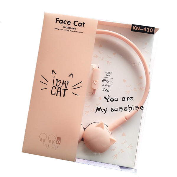 Cute Cat Colored Stereo Pink  Headset