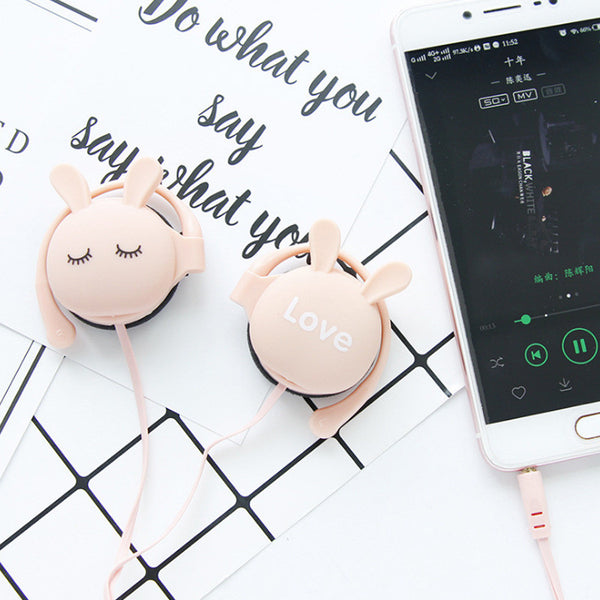 pink Cute Rabbit Cartoon Stereo Earphone Headphone with mic 3.5mm Ear-hook Sports Headset for Girls Kids Xiaomi Mobile Phone Gift Mp3