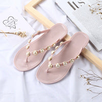 Women Summer Beach Pink Pearl Fashion Slippers, Flip Flops, Sandals