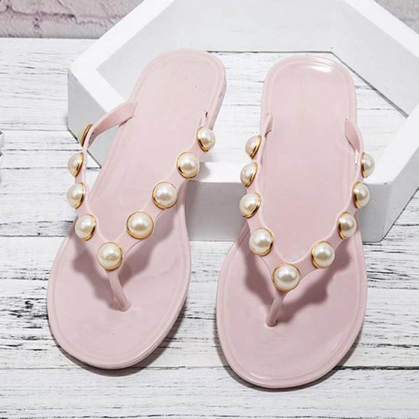 Women Slippers Summer Beach Slippers Flip Flops Sandals Women Pearl Fashion Slippers Ladies Flats Shoes Free shipping