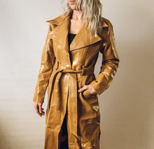 Long Camel Leather Looking Peacoat