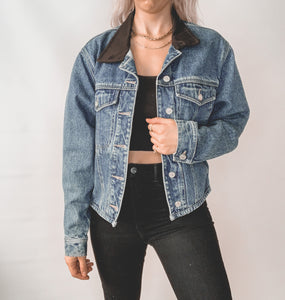 Denim Jacket with Black Collar