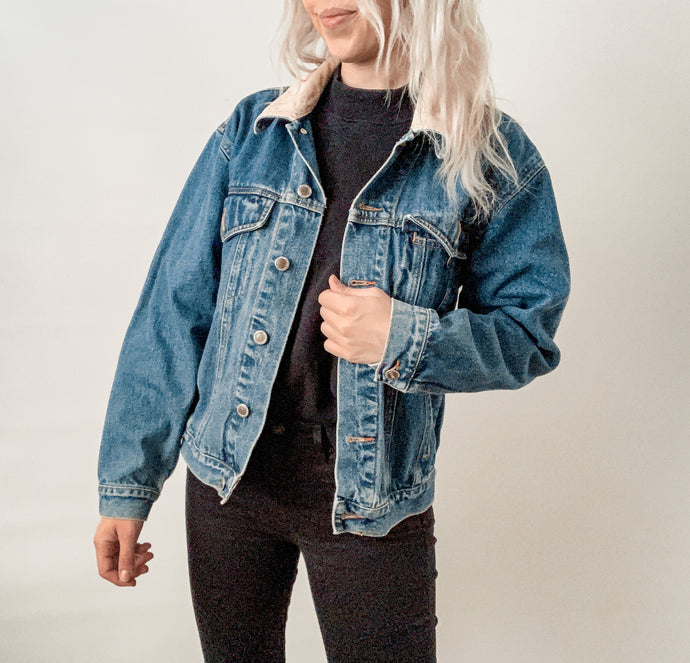 Denim Jacket with Cord Collar