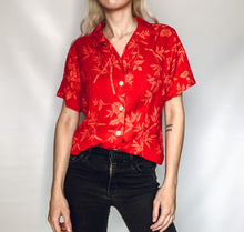 Red Bamboo/Floral Button Up