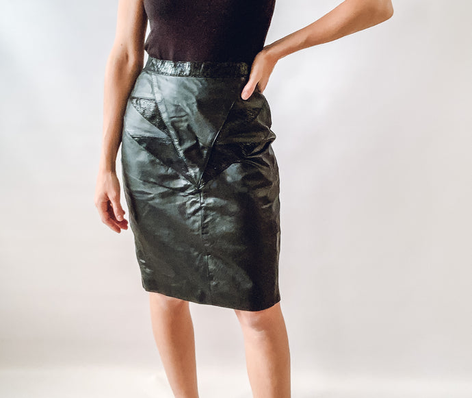 Leather Skirt with Design