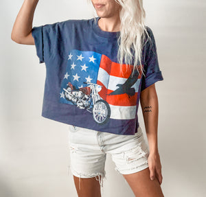Navy Eagle Cropped Top