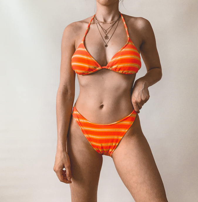 Bright Striped High Waisted Swimsuit