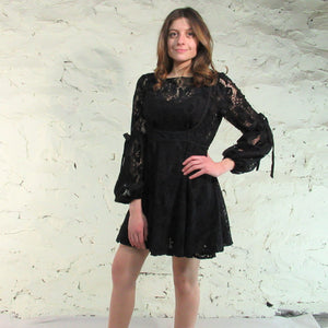 Free People Ruby Mini Tiered Tie Sleeve Lace Dress