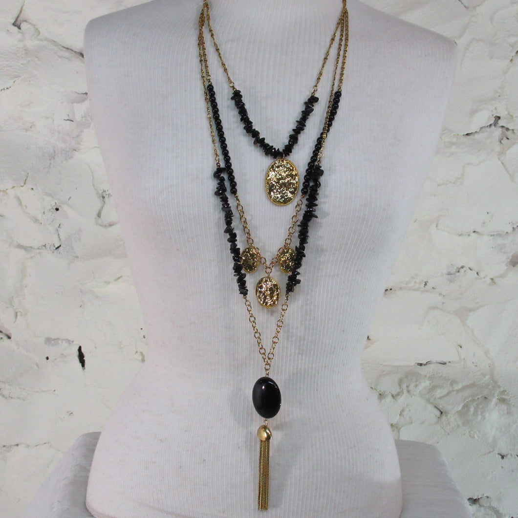 Bead & Medallion Tassel Necklace