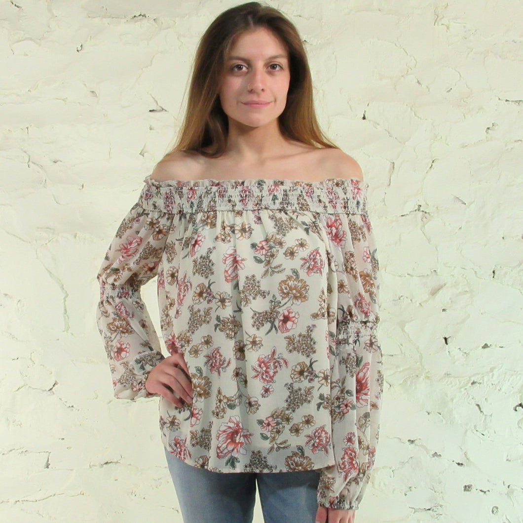 Mystree; Floral Off Shoulder Blouse