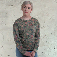 Boho Jane; Green Floral Print Top