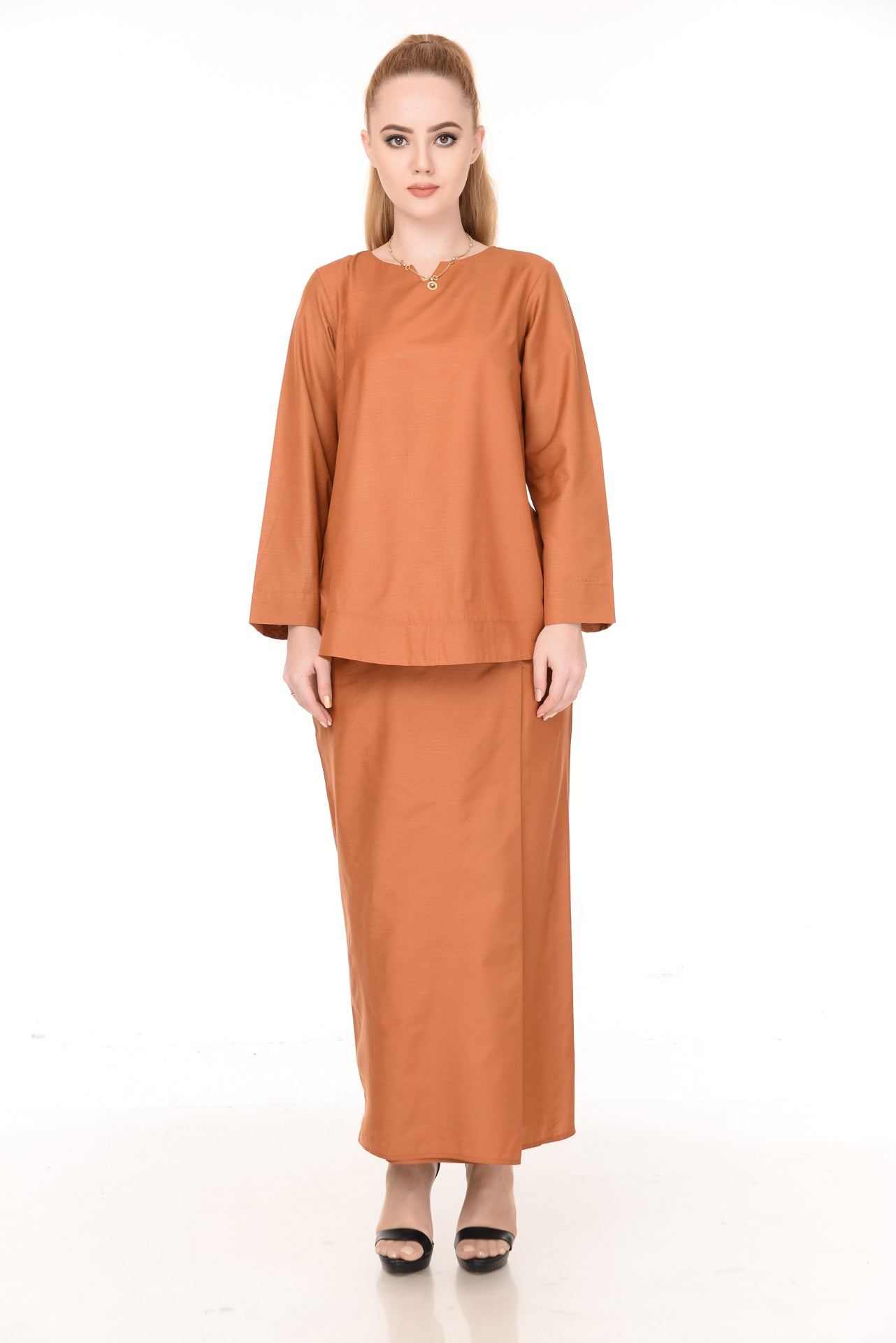 SET LAURA KURUNG KEDAH(LIGHT BROWN)