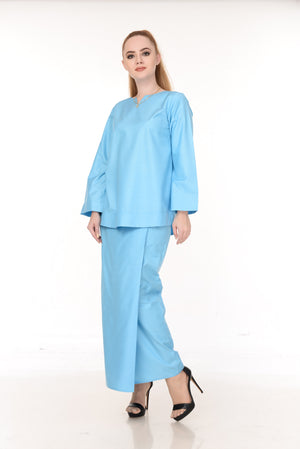 SET LAURA KURUNG KEDAH(LIGHT BLUE)