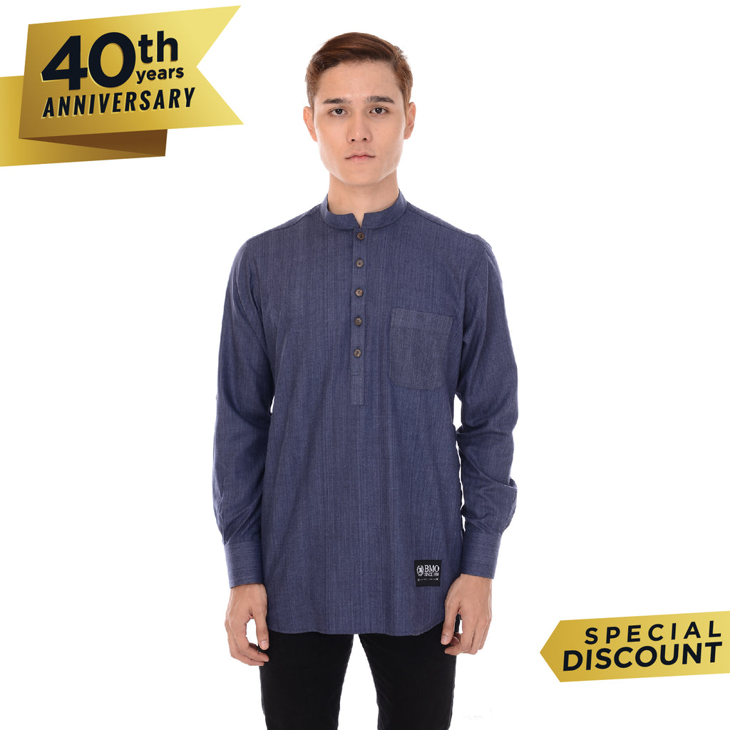 Kurta Basic Long Sleeve Cuff Denim Blue