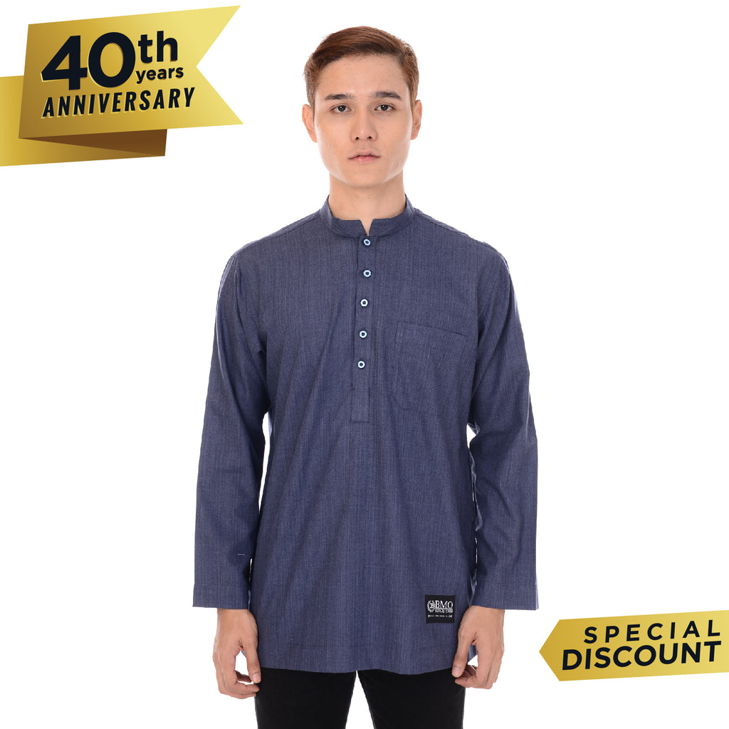 Kurta Basic Long Sleeve Denim Blue