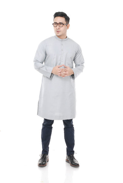 Kurta Tenun Pahang Light Grey
