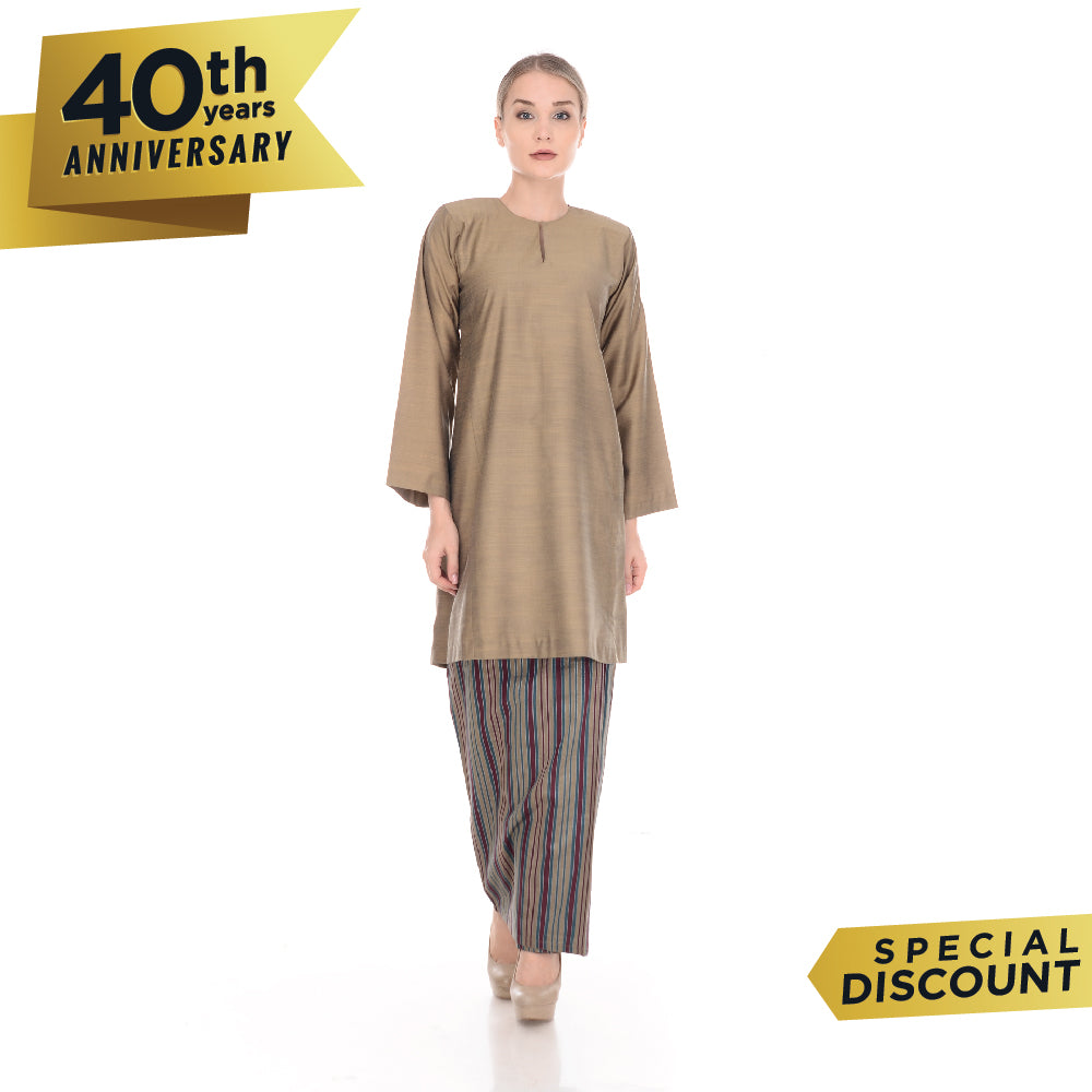 Baju Kurung Pahang Tenun Cotton Brown Gold
