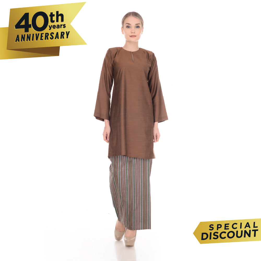 Baju Kurung Pahang Tenun Cotton Dark Brown