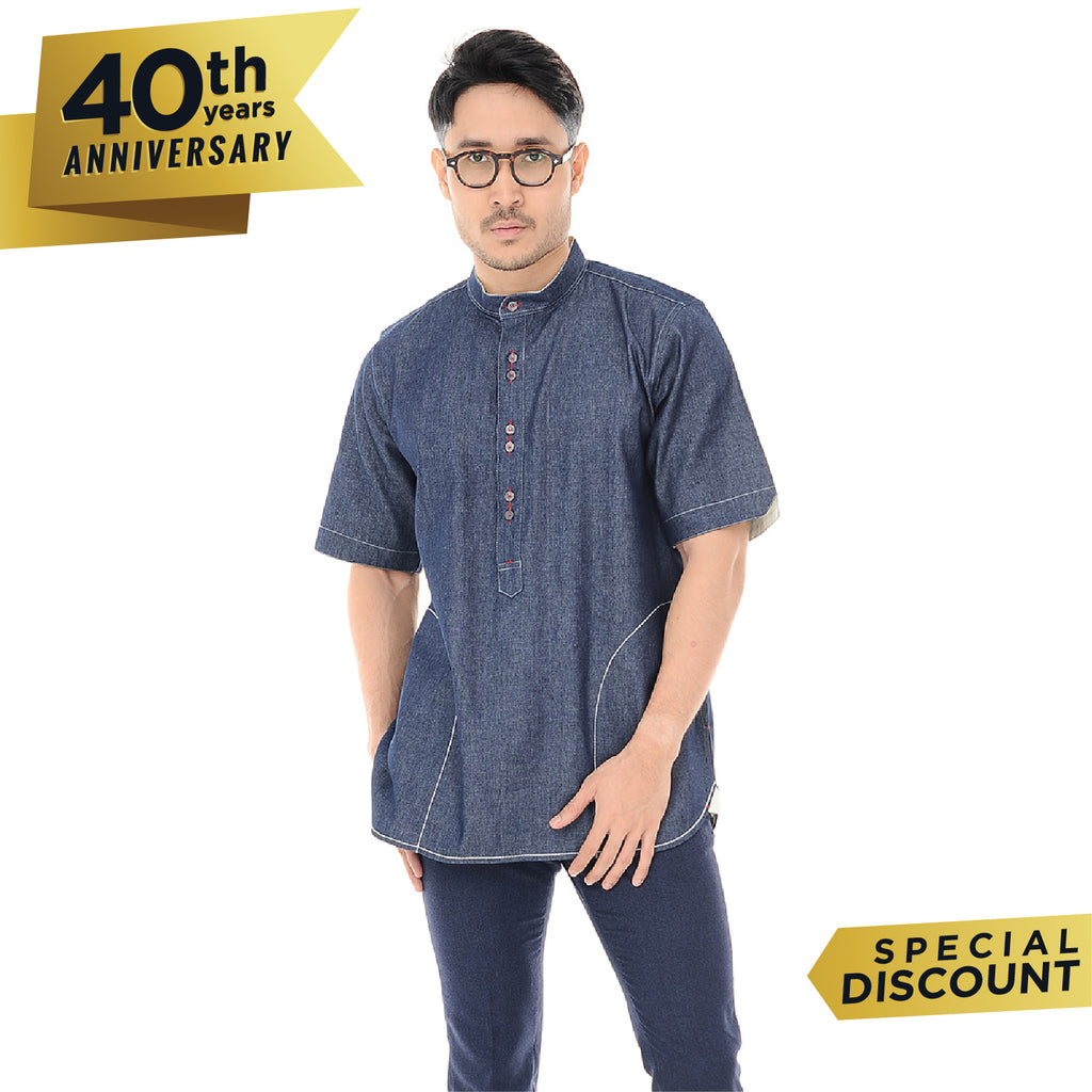 Kurta Shirt Denim Short Sleeve