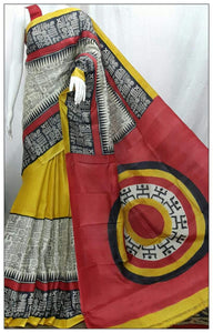 No Tears Red White Black Tribal Print Saree