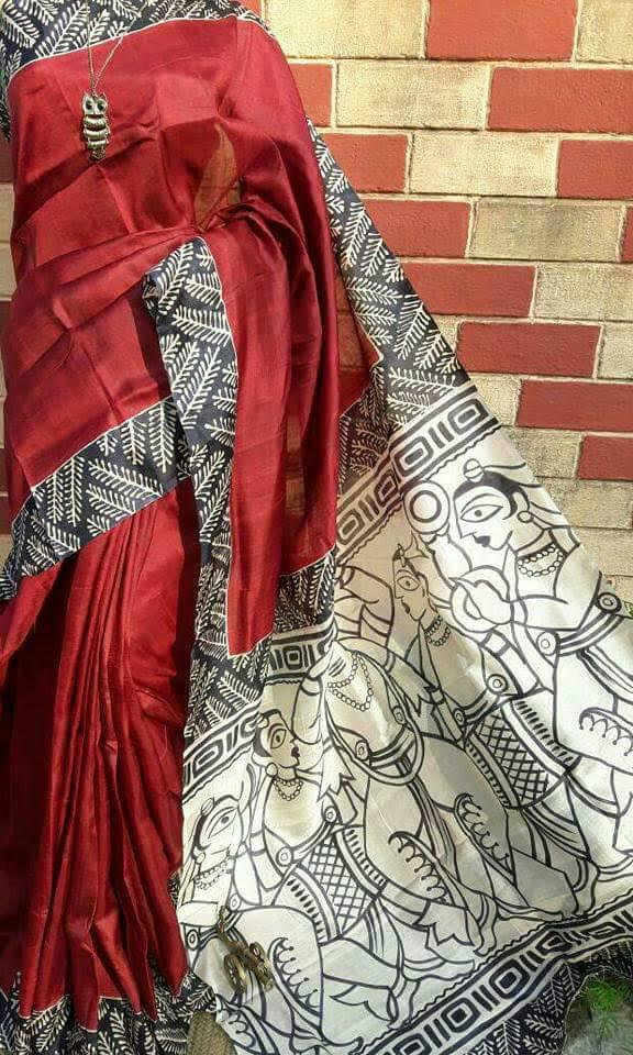 No Tears Red Black Tribal Print Saree