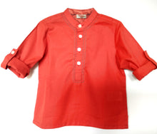 Load image into Gallery viewer, BottaBotta Self-Stripe Cotton Dobby Red Kurta For Boys
