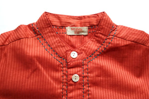 BottaBotta Self-Stripe Cotton Dobby Red Kurta For Boys
