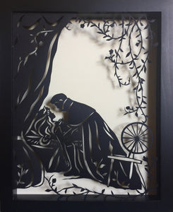 SLEEPING BEAUTY Papercut in Shadow Box - Hand-Cut Silhouette, Framed