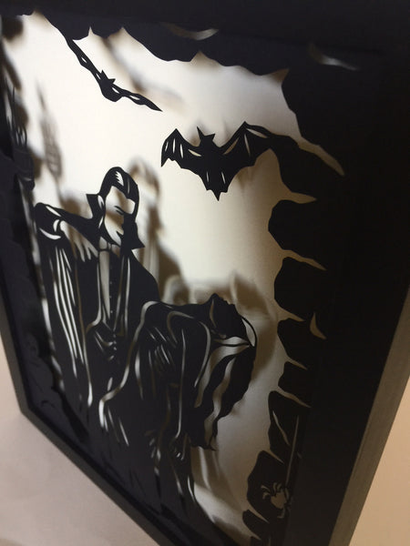 DRACULA Papercut in Shadow Box - Hand-Cut Silhouette, Framed